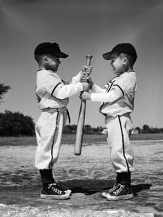 Two Boys in Little League Uniforms, Facing Each Other, Holding Baseball Bat Photographic Print by H. Armstrong Roberts at Art.com