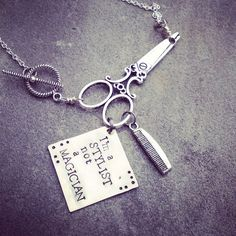 personalized hand stamped scissors necklace for hairdresser or beautician    on Etsy, $29.00
