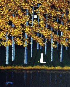 White German Shepherd Dog Outsider Folk Art PRINT of Todd Young Autumn Moon