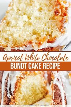 This apricot white chocolate chip cake is moist and delicious with the added bonus of an apricot and confectioner's sugar glaze on top. White Chocolate Icing, Chocolate Chip Cake, Chocolate Tarts, Apricot Cake, Confectioners Sugar Glaze, Cupcake Cakes, Bundt Cakes, Lemon Cupcakes, Recipes