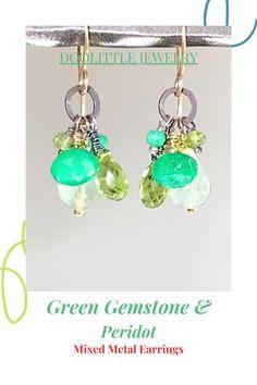 Peridot Jewelry, Gemstone Earrings, Drop Earrings, Green Gemstones, Mixed Metals, Custom Jewelry, Earrings Handmade, Special Occasion, Great Gifts