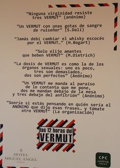 CARTEL FRASES VERMUT Tapas, Whisky, Alcohol, Drink, Deco, Life, Gourmet, Drink Wine, Ale