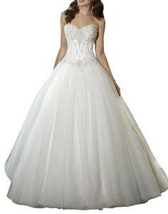 Sweetheart Beaded Corset Bodice Classic Tulle Wedding Dress