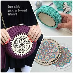 CROCHET BASKET - Laser cut wood Crochet accessories Learn the basics of how to crochet, at the very Crochet Gifts, Crochet Baby, Free Crochet, Laser Cut Wood, Laser Cutting, Crochet Designs, Crochet Patterns, Crochet Basket Tutorial, 3d Laser Printer