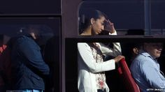 Commuters on bus in Bogota, Colombia
