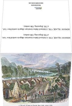 Greetings Card-MOHAWK VILLAGE, A Mohawk Native American village in central New York, Engraving, century-Photo Greetings Card made in Native American Tribes, Fine Art Prints, Canvas Prints, Photo Greeting Cards, Nativity, 19th Century, New York, Photographic Prints, Poster Prints