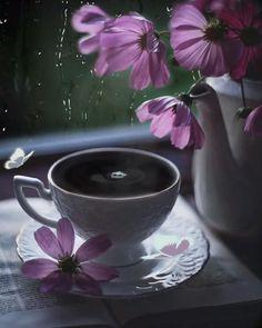 💜Gif~💜☕️💜 Good Morning Gift, Good Morning Coffee Gif, Good Morning Greetings, Flower Background Wallpaper, Flower Phone Wallpaper, Flower Backgrounds, Good Morning Beautiful Gif, Good Morning Flowers, Flowers Gif