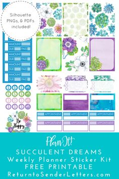 Succulent Dreams Weekly Planner Sticker Kit - FREE PRINTABLE! Includes png, PDF, .studio3 files.