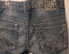 Request Premium Jeans 100% Cotton Distressed Denim 32x32 Accent Studded Pockets #RequestJeans #ClassicStraightLeg