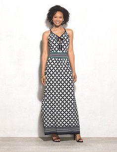 Geometric Halter Maxi Dress