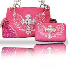 c785908c40bd handbag  amp  wallet combo pink cross w wings angel western rhinestone  studded set
