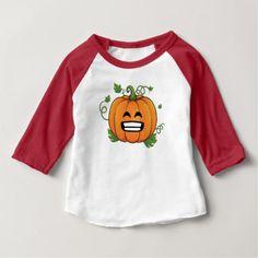 Pumpkin Big Smile Emoji Thanksgiving Halloween Baby T-Shirt - thanksgiving day family holiday decor design idea