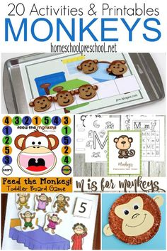 Your little monkey will flip for these monkey activities for preschoolers. These printables and crafts are a must for your homeschool preschool lessons. | homeschoolpreschool.net via @homeschlprek