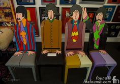 The Beatles Yellow Submarine themed character chairs portraying all The Beatles gifted to Ringo by his brother in-law Joe Walsh of The Eagles fame.