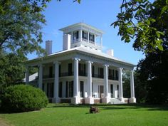 """Antebellum homes with columns. This home is in Eutaw, Alabama. In this little town, there are 27 old antebellum homes on the National Register of Historic Places. Over 150 years ago """"it was purchased new by Kirkwood's original owner, cotton mogul Foster Mark Kirksey, shipped from New York to Mobile and likely sent upriver to Eutaw."""""""
