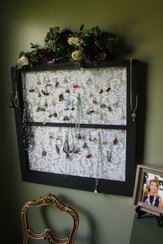 necklace organizer Window screen earring holder Necklaces