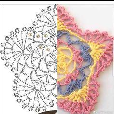 Crochet Diagram, Crochet Motif, Crochet Designs, Crochet Doilies, Crochet Flowers, Crochet Stitches, Knit Crochet, Crochet Patterns, Crochet Crafts