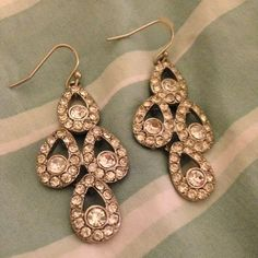 Costume Silver Rhinestone Chandelier Earrings Excellent condition! Worn once as a bridesmaid. Belk Jewelry Earrings