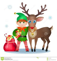 Funny Elf And Reindeer. Royalty Free Stock Images - Image: 35472229