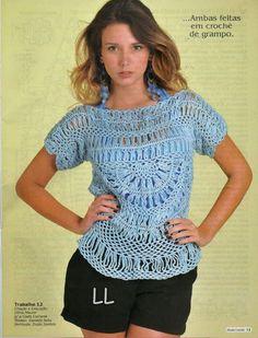 louca por linhas - crochet e patchwork: Blusa Ana Maria (com gráfico)