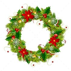 Christmas wreath for your design. Vector illustration