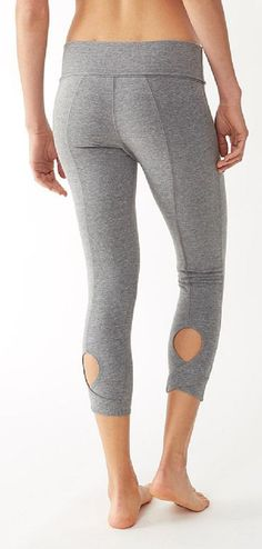 Grey Leggings - Keyhole Cutout Design (I have these and love them - so flattering and cute!!) #workout #yoga #lounge #active #leggings