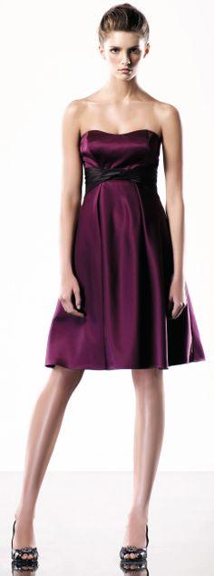 Strapless empire waist knee-length gown... cute