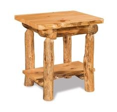 Rustic Log End Table with Drawer and Shelf Rustic log furniture with lots of character, complete with small drawer and lower shelf.