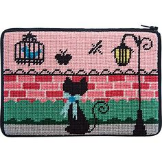 A Stitch and Zip needlepoint small Purse called Kitty Kat. The design is color-printed on 14 mesh and comes with cotton floss. This is a self-finishing needlepoint purse that you zip up when you have finished stitching it. Needlepoint Christmas Stocking Kits, Needlepoint Stockings, Needlepoint Pillows, Needlepoint Patterns, Perler Patterns, Needlepoint Canvases, Cross Stitch Patterns, Plastic Canvas Crafts, Plastic Canvas Patterns