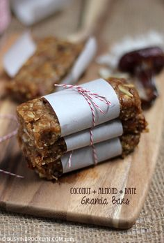 Healthy Homemade Chewy Date Granola Bars with coconut and almonds