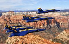 Blue Angels over Zion National  Park  2012 Air Show. St. George, Utah