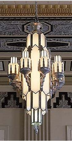A Majestic Art Deco Chandelier in the Pacific Building, Texas