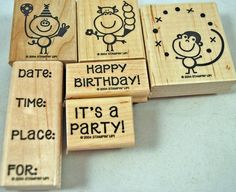 "Stampin Up Stamp Set - Rubber Stamps - ""It's A Party"" 2004 for Any Kind of Party ...."