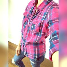 Aeropostale pink flannel shirt Girly and so cute! Worn and washed a few times but in great condition! One of my favorites! Size says XL but fits more like a medium. Aeropostale Tops Button Down Shirts
