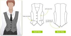 """Chelsea vest"" Fully lined. Sewing pattern. Very similar style lines to SJS's default vests. JM."