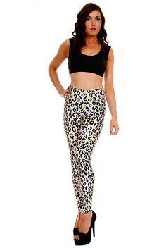 Leggings imprimé léopard blanc   jaune, 6 tailles disponibles. Top  debardeur en option.  legging acf5d4592bbe