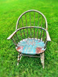Wood rocking chair repurposed with teal chalk paint