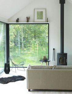 Fen tre xxl mur de verre baie vitr e conseils d 39 installation verri re pinterest maison for Petit chalet prefabrique