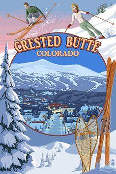 Crested Butte, Colorado - Ski Montage - Lantern Press Poster