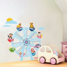 Every day a carnival with this fun ferris wheel wall decal. Paul Frank's quirky, fanciful characters ride in colorful julius, skurvy, bunny girl on this vibrant ferris wheel. Bright, vivid colors abound in this colossal wall mural which is an ideal wall decor for kids rooms. The carnival theme brings a lively party feel to a bedroom, playroom, or bathroom.$134.99