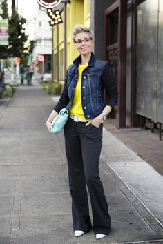 A Strict Suit with Multiple Toppers - I like the citron sweater with the denim top!
