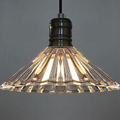 60W Artistic Modern Pendant Light with Glass Umbrella Feature Shade - USD $ 99.99