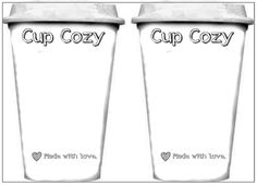 template printout for cups used for displaying cup cozies, plus patterns for cozies.