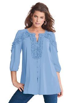 6706d305d2694 Roamans Plus Size Ruffle Sleeve Blouse