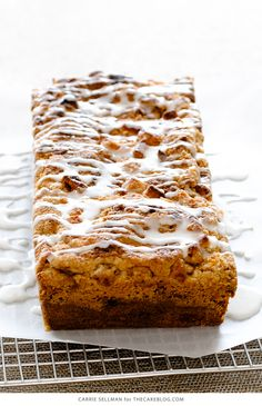 Apple Crumb Cake with chunks of fresh apple, cinnamon and a double crumble topping   Carrie Sellman for TheCakeBlog.com