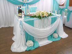 Картинки по запросу оформление стола молодых в бирюзовом цвете