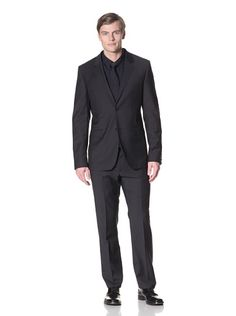 83% OFF Calvin Klein Collection Men\'s Bowery 2 Button Notch Modern Fit Suit (Navy blue)
