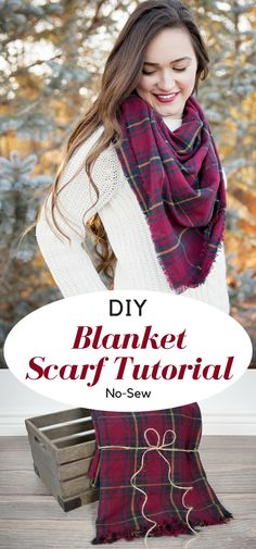 Easy 10 Minute No-Sew Fringe Blanket Scarf Tutorial. : Easy 10 Minute No-Sew Fringe Blanket Scarf Tutorial. Diy Blanket Scarf, Plaid Blanket Scarf, No Sew Scarf, Scarf Shirt, Sweater Weather, Diy Fashion Projects, Sewing Projects, Diy Projects, Sewing Tutorials