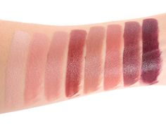 Maybelline Color Sensational The Buffs Lipstick-Swatches (L-R) Bare All, Blushing Beige, Nude Lust, Maple Kiss, Truffle Tease, Stormy Sahara, Untainted Spice & Espresso Exposed