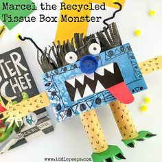 Marcel the Recycled Tissue Box Monster Iddle Peeps - www.iddlepeeps.com fun and creative kids crafts and ecofriendly activities.
